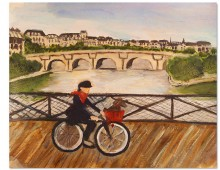 Girl with Bicycle on Le Pont Neuf